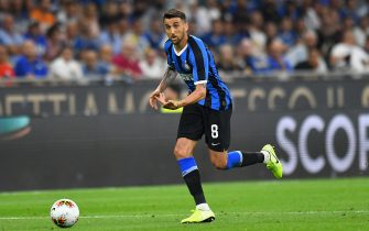 MILAN, ITALY - AUGUST 26:  Matias Vecino of FC Internazionale in action during the Serie A match between FC Internazionale and US Lecce at Stadio Giuseppe Meazza on August 26, 2019 in Milan, Italy.  (Photo by Alessandro Sabattini/Getty Images)