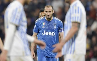 FERRARA, ITALY - FEBRUARY 22:  Giorgio Chiellini of Juventus reacts during the Serie A match between SPAL and  Juventus at Stadio Paolo Mazza on February 22, 2020 in Ferrara, Italy. (Photo by Daniele Badolato - Juventus FC/Getty Images)