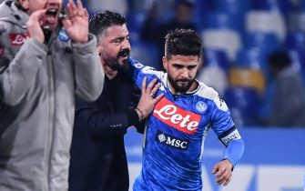 Napoli's Italian forward Lorenzo Insigne (R) celebrates with Napoli's Italian head coach Gennaro Gattuso (2ndL) after scoring during the Italian Serie A football match Napoli vs Juventus on January 26, 2020 at the San Paolo stadium in Naples. (Photo by Alberto PIZZOLI / AFP) (Photo by ALBERTO PIZZOLI/AFP via Getty Images)