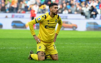 UDINE, ITALY - FEBRUARY 16: Mattia Zaccagni of Hellas Verona shows his dejection during the Serie A match between Udinese Calcio and  Hellas Verona at Stadio Friuli on February 16, 2020 in Udine, Italy.  (Photo by Alessandro Sabattini/Getty Images)