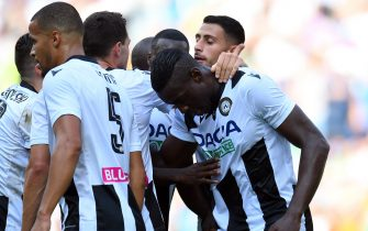 UDINE, ITALY - SEPTEMBER 29:  Stefano Okaka of Udinese Calcio celebrates after scoring the opening goal during the Serie A match between Udinese Calcio and Bologna FC at Stadio Friuli on September 29, 2019 in Udine, Italy.  (Photo by Alessandro Sabattini/Getty Images)
