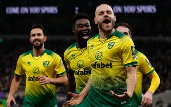 Norwich City's Finnish striker Teemu Pukki celebrates scoring their first goal to equalise 1-1 during the English Premier League football match between Tottenham Hotspur and Norwich City at the Tottenham Hotspur Stadium in London, on January 22, 2020. (Photo by Adrian DENNIS / AFP) / RESTRICTED TO EDITORIAL USE. No use with unauthorized audio, video, data, fixture lists, club/league logos or 'live' services. Online in-match use limited to 120 images. An additional 40 images may be used in extra time. No video emulation. Social media in-match use limited to 120 images. An additional 40 images may be used in extra time. No use in betting publications, games or single club/league/player publications. /  (Photo by ADRIAN DENNIS/AFP via Getty Images)