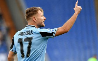 ROME, ITALY - FEBRUARY 02: Curo Immobile of SS Lazio celebrates a opening goal during the Serie A match between SS Lazio and SPAL at Stadio Olimpico on February 02, 2020 in Rome, Italy. (Photo by Marco Rosi/Getty Images)