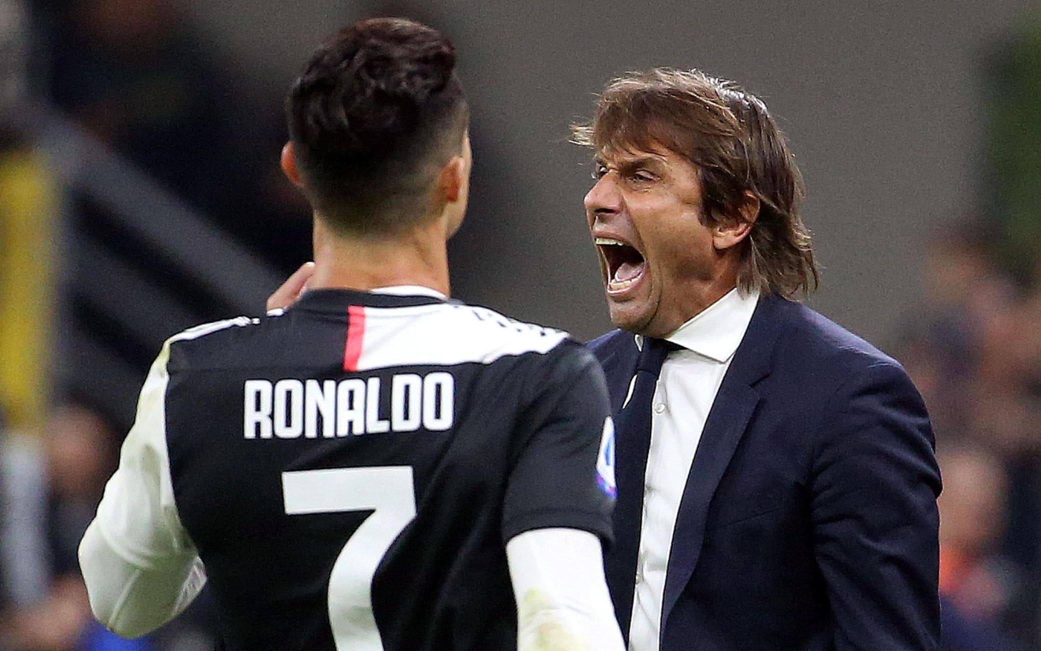 Cristiano Ronaldo e Antonio Conte in Inter-Juventus