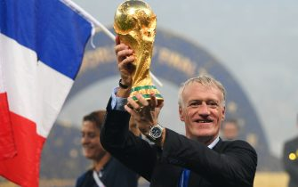 MOSCOW, RUSSIA - JULY 15:  Didier Deschamps, Manager of France celebrates with the World Cup trophy following the 2018 FIFA World Cup Final between France and Croatia at Luzhniki Stadium on July 15, 2018 in Moscow, Russia.  (Photo by Shaun Botterill/Getty Images)