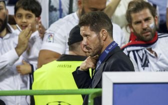 coach Diego Simeone of Club Atletico de Madrid during the UEFA Champions League final match between Real Madrid and Atletico Madrid on May 28, 2016 at the Giuseppe Meazza San Siro stadium in Milan, Italy.(Photo by VI Images via Getty Images)
