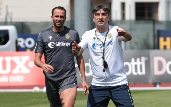 Verona's head coach Ivan Juric and Verona's forward Giampaolo Pazzini during the training of the team in Mezzano di Primiero, near Trento, northern Italy, 17 July 2019. ANSA/EMANUELE PENNACCHIO