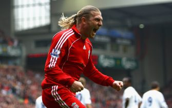 LIVERPOOL, UNITED KINGDOM - OCTOBER 07:  Andriy Voronin of Liverpool celebrates scoring the opening goal during the Barclays Premier League match between Liverpool and Tottenham Hotspur at Anfield on October 7, 2007 in Liverpool, England. (Photo by Clive Brunskill/Getty Images).  (Photo by Clive Brunskill/Getty Images)