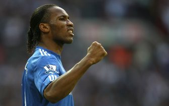 Chelsea's Didier Drogba celebrates scoring the opening goal of the game