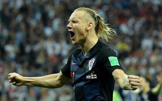 epa06882026 Domagoj Vida of Croatia celebrates winning the FIFA World Cup 2018 semi final soccer match between Croatia and England in Moscow, Russia, 11 July 2018.