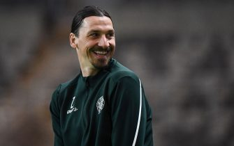AC Milan's Swedish forward Zlatan Ibrahimovic takes part in a training session of Swedish league team Hammarby IF at Tele 2 Arena on April 17, 2020 in Stockholm. (Photo by Jonathan NACKSTRAND / AFP) (Photo by JONATHAN NACKSTRAND/AFP via Getty Images)