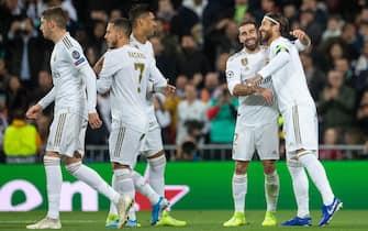 Sergio Ramos of Real Madrid celebrating after scoring a goal during the match Real Madrid CF v Galatasaray , of UEFA Champions League, 2019/2020 season, Date 4. Santiago Bernabeu Stadium. Barcelona, Spain, 6 Nov 2019.