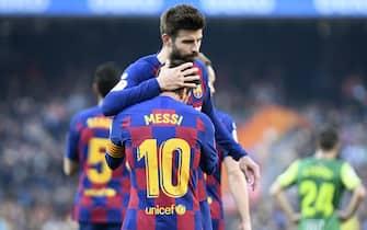 Lionel Messi of FC Barcelona celebrates his goal with Gerard Pique during the match FC Barcelona v SD Eibar, of LaLiga 2019/2020 season, date 25. Camp Nou Stadium. Barcelona, Spain, 22 Feb 2020.