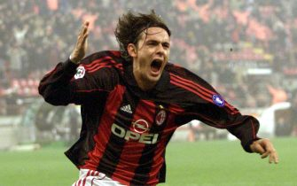 I53 - 20011122 - MILAN, ITALY : Filippo Inzaghi of Milan jubilates after scoring the second goal of his team against Sporting Lisboa during their UEFA soccer match late Thursday 22 November 2001. Milan won 2-0.   EPA PHOTO ANSA/CARLO FERRARO/pal-BW