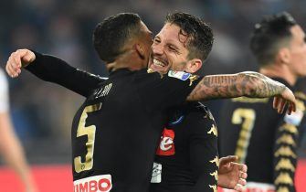Napoli's midfielder Allan  (L) jubilates embracing his teammate Dries Mertens after scoring the goal 2-0 during italian Serie A soccer match between  SSC Napoli and Udinese Calcio at San Paolo stadium in Naples, Italy, 15 April 2017. ANSA / CIRO FUSCO