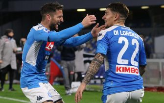 Napoli?s Giovanni Di Lorenzo (R) jubilates with his teammate Dries Mertens after scoring the goal during the Italian Serie A soccer match SSC Napoli vs Torino FC at the San Paolo stadium in Naples, Italy, 29 February 2020.ANSA/CESARE ABBATE
