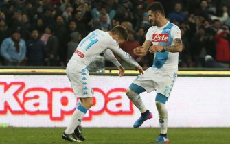 Napoli's forward Dries Mertens (l) exults with his teammate Elseid Hysaj after scoring the goal of 1-1 during italian Serie A soccer match between SSC Napoli and US Palermo at San Paolo stadium in Naples, 29 January 2017. ANSA / CESARE ABBATE