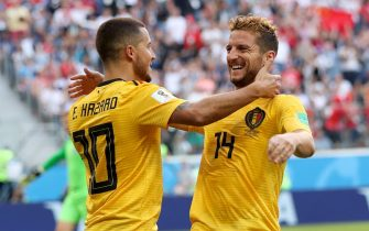 epa06888509 Eden Hazard (L) of Belgium celebrates with teammate Dries Mertens after scoring the 2-0 lead during the FIFA World Cup 2018 third place soccer match between Belgium and England in St.Petersburg, Russia, 14 July 2018.(RESTRICTIONS APPLY: Editorial Use Only, not used in association with any commercial entity - Images must not be used in any form of alert service or push service of any kind including via mobile alert services, downloads to mobile devices or MMS messaging - Images must appear as still images and must not emulate match action video footage - No alteration is made to, and no text or image is superimposed over, any published image which: (a) intentionally obscures or removes a sponsor identification image; or (b) adds or overlays the commercial identification of any third party which is not officially associated with the FIFA World Cup)  EPA/TOLGA BOZOGLU   EDITORIAL USE ONLY