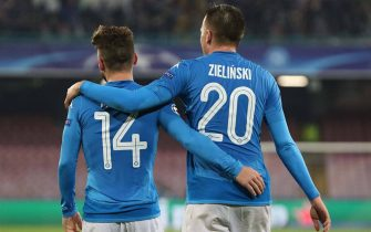 Napoli's Dries Mertens (L) jubilates with his teammate Piotr Zielinski after scoring the goal during the Uefa Champions League Group F soccer match SSC Napoli vs Shakhtar Donetsk at the San Paolo stadium in Naples, Italy, 21 November 2017.ANSA/CESARE ABBATE