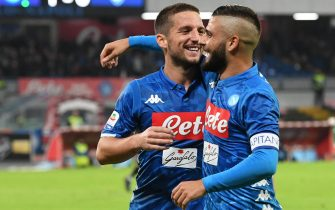 Napoli's forward Dries Mertens (L) celebrates with teammate Lorenzo Insigne after scoring a goal during Italian Serie A soccer match between SSC Napoli and Empoli FC at the San Paolo stadium in Naples, 2 November 2018. ANSA / CIRO FUSCO