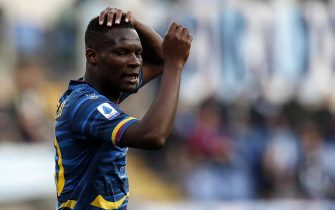 Lecce's Khouma Babacar reacts during the Serie A soccer match between SS Lazio and US Lecce at the Olimpico stadium in Rome, Italy, 10 November 2019. ANSA/RICCARDO ANTIMIANI