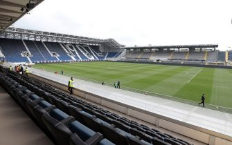 BERGAMO, ITALY - OCTOBER 06:  A general view inside the stadium prior to the Serie A match between Atalanta BC and US Lecce at Gewiss Stadium on October 6, 2019 in Bergamo, Italy.  (Photo by Emilio Andreoli/Getty Images)