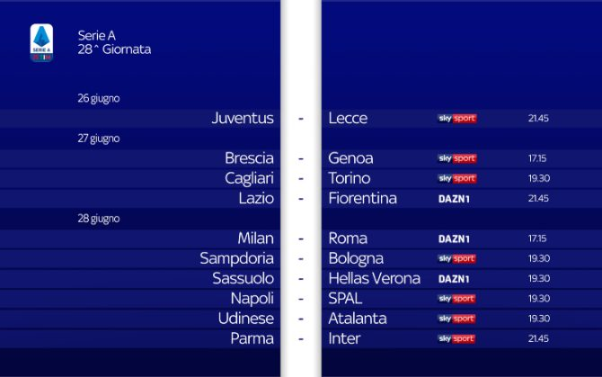 Il Calendario Della Serie A Ufficiale Alla Ripresa Del Campionato Sky Sport
