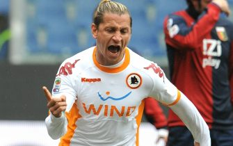 French defender of As Roma, Philippe Mexes, jubilates after scoring the goal against Genoa during their Italian Serie A soccer match at Luigi Ferraris stadium in Genova, Italy on 20 February 2011.ANSA/LUCA ZENNARO