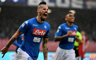 Napoli's Slovakian midfielder Marek Hamsik celebrates after scoring a goal before it is disallowed due to offside during the Serie A football match between Napoli and Spal at San Paolo Stadium Stadium in Naples on February 18, 2018.  / AFP PHOTO / TIZIANA FABI        (Photo credit should read TIZIANA FABI/AFP via Getty Images)