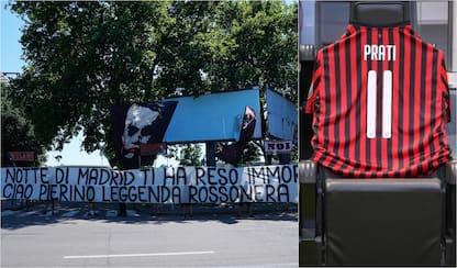 Omaggio a Pierino Prati prima di Milan-Roma. FOTO