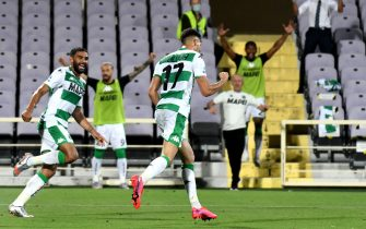 Sassuolo's defender Mert Muldur (R) celebrates after scoring a goal during the Italian Serie A soccer match between ACF Fiorentina and US Sassuolo at the Artemio Franchi stadium in Florence, Italy, 01 July 2020. ANSA/CLAUDIO GIOVANNINI