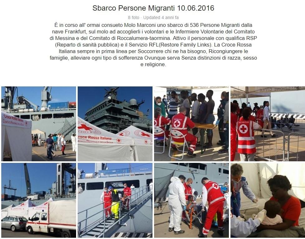 Le foto dello sbarco del 10 giugno 2016 (pagina Facebook Croce Rossa Messina)