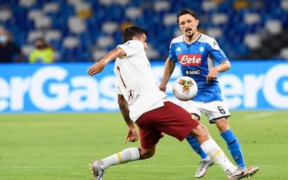 Napoli-Roma 0-0 LIVE: traversa di Milik