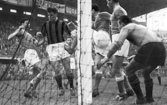 23-09-1953Gunnar Nordahl (Hornefors, 19 ottobre 1921 – Alghero, 15 settembre 1995) è stato un allenatore di calcio e calciatore svedese, di ruolo attaccanteNella foto: Gunnar Nordahl - partita Milan - Novara 0-0 -  Mischia in area novarese