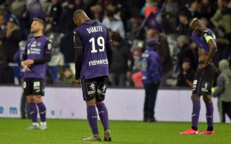 Toulouse's players react after losing the French L1 football match between Toulouse (TFC) and Strasbourg (RCSA) on February 5, 2020, at the Municipal Stadium in Toulouse, southern France. (Photo by PASCAL PAVANI / AFP) (Photo by PASCAL PAVANI/AFP via Getty Images)