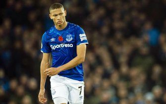 epa07970013 Everton's Richarlison reacts during the English Premier League soccer match between Everton FC and Tottenham Hotspur at the Goodison Park in Liverpool, Britain, 03 November 2019.  EPA/PETER POWELL EDITORIAL USE ONLY. No use with unauthorized audio, video, data, fixture lists, club/league logos or 'live' services. Online in-match use limited to 120 images, no video emulation. No use in betting, games or single club/league/player publications