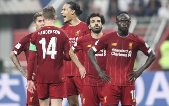 epa08085820 Liverpool players react during the FIFA Club World Cup 2019 final soccer match between Liverpool FC and CR Flamengo in Doha, Qatar 21 December 2019.  EPA/ALI HAIDER