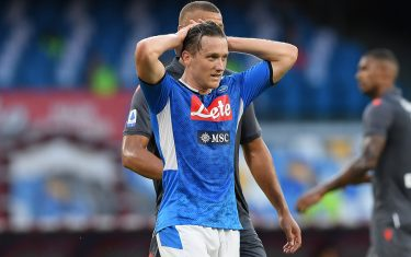NAPLES, ITALY - JULY 19: Piotr Zielinski of SSC Napoli stands disappointed during the Serie A match between SSC Napoli and  Udinese Calcio at Stadio San Paolo on July 19, 2020 in Naples, Italy. (Photo by Francesco Pecoraro/Getty Images)