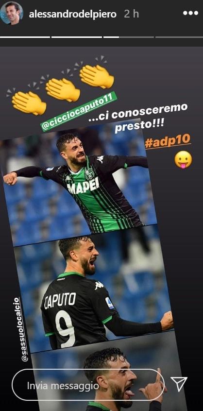 Alex Del Piero risponde a Ciccio Caputo (Instagram)