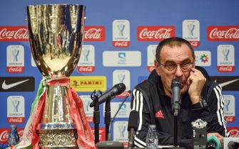 Juventus' coach Maurizio Sarri attends a press conference in Saudi capital Riyadh on December 21, 2019, on the eve of the Supercoppa Italiana final football match between Juventus and Lazio at the King Saud University Stadium. (Photo by FAYEZ NURELDINE / AFP) (Photo by FAYEZ NURELDINE/AFP via Getty Images)