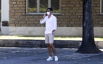 L' allenatore della Roma Paulo Fonseca parla al telefono a Trigoria, Roma,  27 agosto 2020. ANSA/MASSIMO PERCOSSI