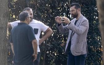 Il dirigente sportivo dell'AS Roma Morgan De Sanctis (d) discute con il procuratore sportivo Mino Raiola a Trigoria, Roma, 27 agosto 2020. ANSA/MASSIMO PERCOSSI