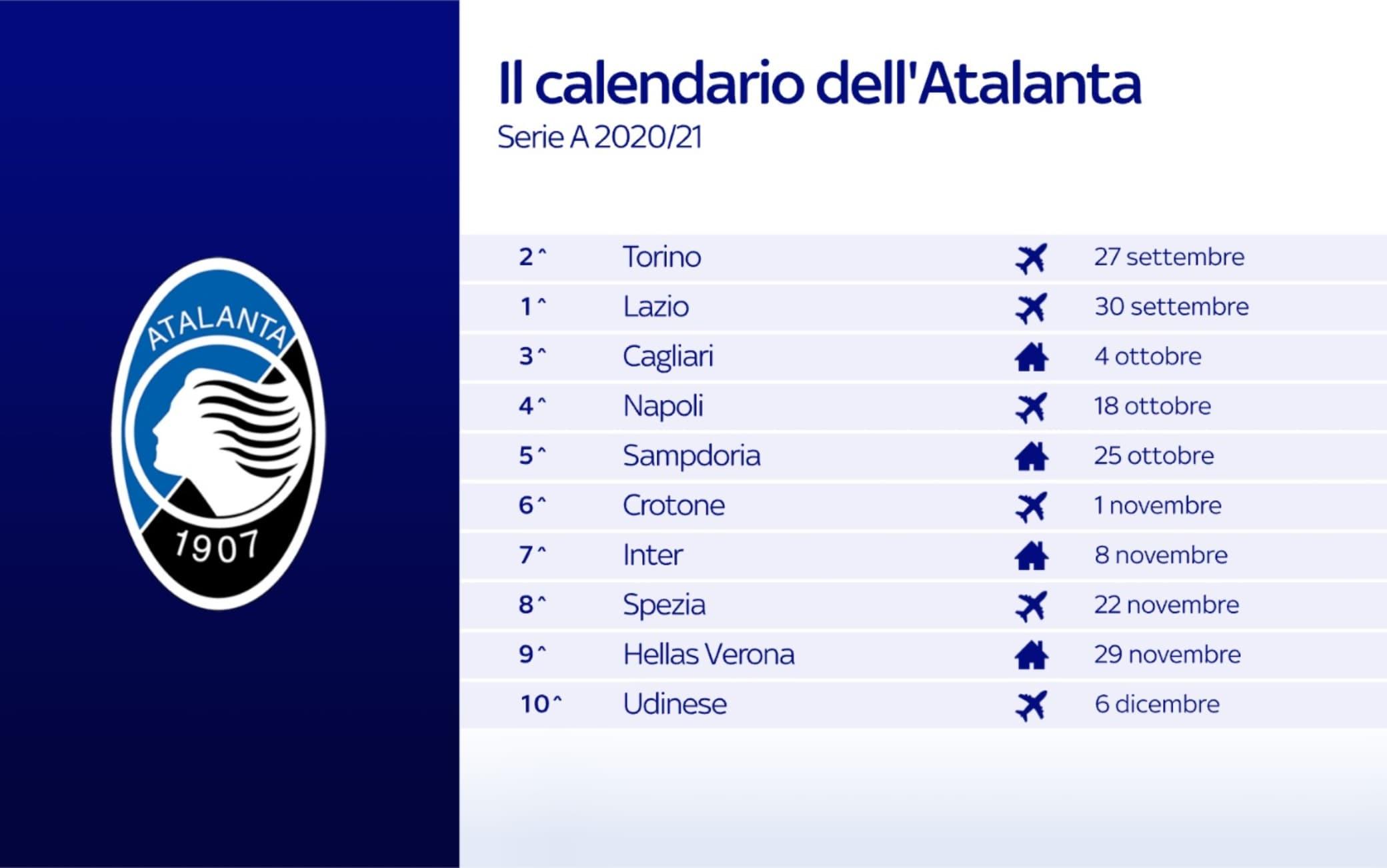 Calendario Atalanta, le partite dei bergamaschi nel prossimo