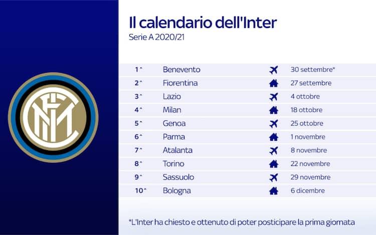 Calendario Inter, le partite dei nerazzurri nel prossimo
