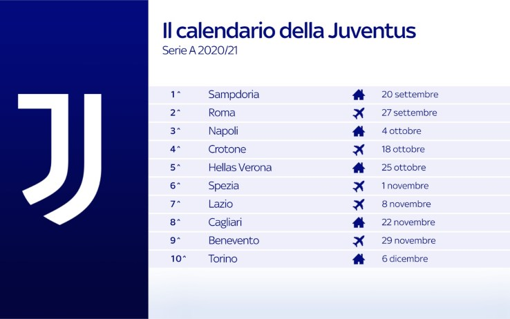 Calendario Juve, le partite dei bianconeri nel prossimo campionato