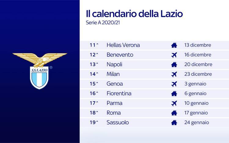 Calendario Lazio, le partite dei biancocelesti nel prossimo