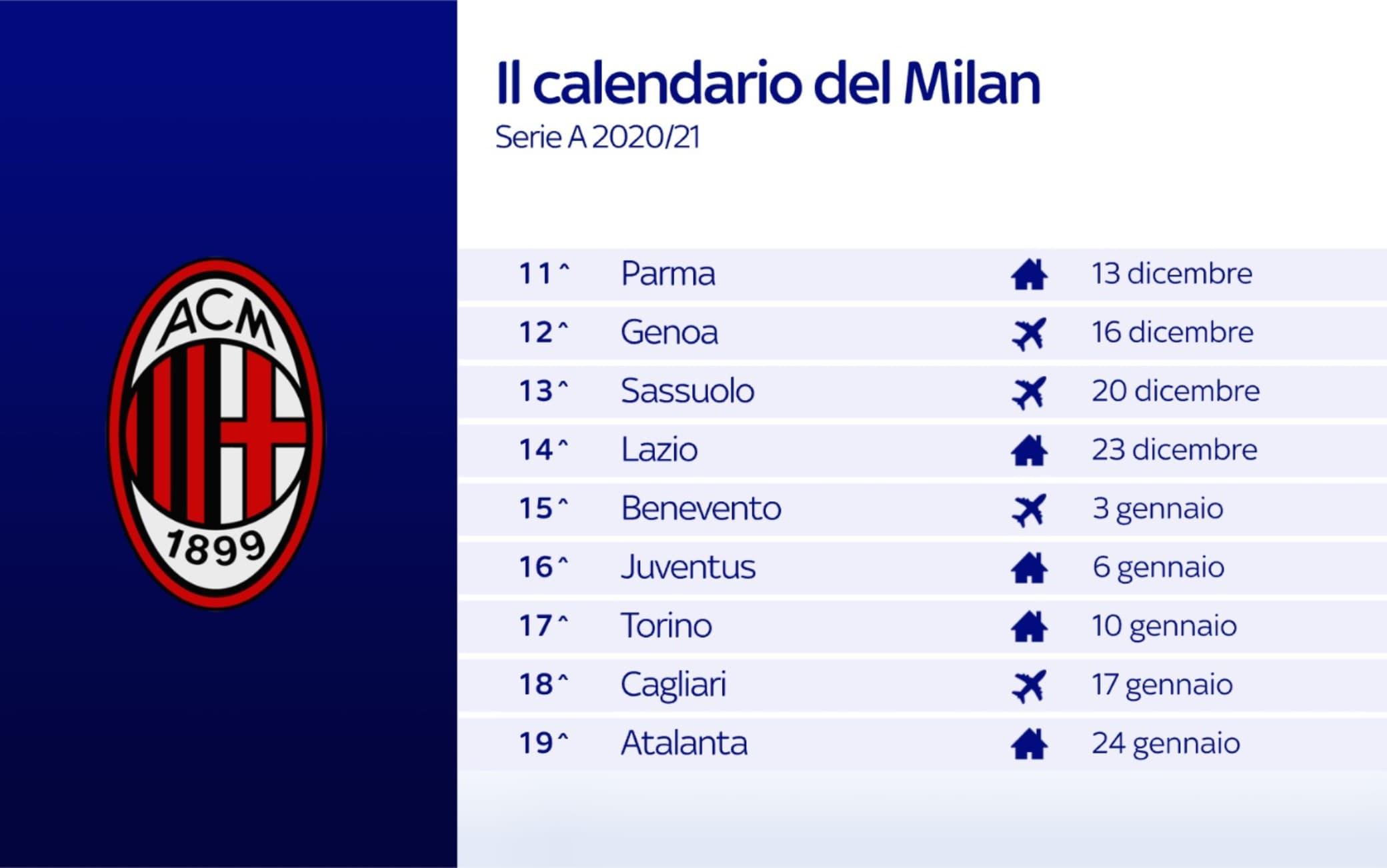 Calendario Milan 11-19