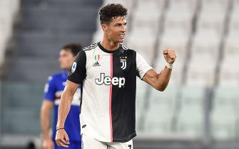 Juventus' Cristiano Ronaldo jubilates after scoring the goal (1-0) during the italian Serie A soccer match Juventus FC vs UC Sampdoria at the Allianz stadium in Turin, Italy, 26 July 2020 ANSA/ ALESSANDRO DI MARCO
