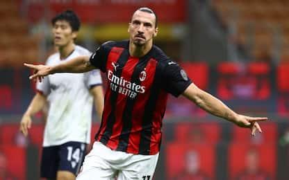 Il Milan riparte da Ibra: doppietta e Bologna ko