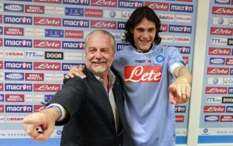 Napoli Chairman Aurelio De Laurentis presents at apress conference  his team's latest acquisition: Uruguay striker  Edinson Cavani.